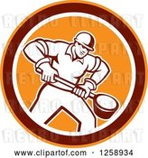 Vector Clip Art of Retro Male Foundry Worker Holding a Ladle in an Orange Brown and White Circle by Patrimonio