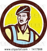 Vector Clip Art of Retro Male French Artist Wearing a Beret in a Brown White and Yellow Circle by Patrimonio