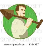 Vector Clip Art of Retro Male Gardener Holding a Shovel over His Shoulder in a Green Circle by Patrimonio