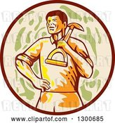Vector Clip Art of Retro Male Gardener with a Shovel over His Shoulder in a Brown Tan and Green Circle by Patrimonio