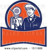 Vector Clip Art of Retro Male Gas Station Attendant Holding a Nozzle over a Banner by Patrimonio