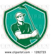 Vector Clip Art of Retro Male Golfer Holding a Club in a Tan White Turquoise and Green Shield by Patrimonio