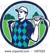 Vector Clip Art of Retro Male Golfer Stretching with a Club over His Shoulders, in a Blue White and Green Circle by Patrimonio