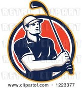 Vector Clip Art of Retro Male Golfer Swinging a Club in a Red Circle by Patrimonio