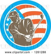 Vector Clip Art of Retro Male Golfer Swinging in an American Flag Circle by Patrimonio