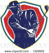 Vector Clip Art of Retro Male Golfer Teeing off in a Shield by Patrimonio