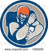 Vector Clip Art of Retro Male Gridiron American Football Player Fending with a Ball in a Blue White and Taupe Circle by Patrimonio