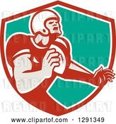 Vector Clip Art of Retro Male Gridiron American Football Player Throwing in a Red White and Turquoise Shield by Patrimonio