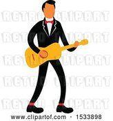 Vector Clip Art of Retro Male Guitarist Wearing a Tuxedo by Patrimonio