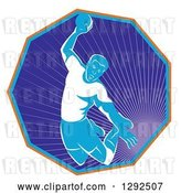 Vector Clip Art of Retro Male Handball Player Jumping and Preparing to Throw the Ball in a Hexagon of Rays by Patrimonio