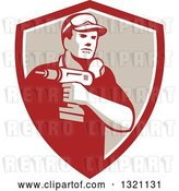 Vector Clip Art of Retro Male Handy Guy Holding a Power Drill in a Red White and Tan Shield by Patrimonio