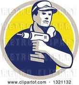 Vector Clip Art of Retro Male Handy Guy Holding a Power Drill in a Tan White and Yellow Circle by Patrimonio