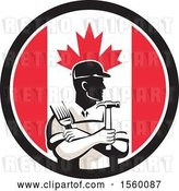 Vector Clip Art of Retro Male Handyman Holding a Paintbrush and Hammer in a Canadian Flag Circle by Patrimonio