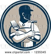 Vector Clip Art of Retro Male Handyman Holding a Paintbrush and Hammer in a Circle by Patrimonio