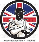 Vector Clip Art of Retro Male Handyman Holding a Paintbrush and Hammer in a Union Jack Flag Circle by Patrimonio