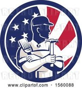 Vector Clip Art of Retro Male Handyman Holding a Paintbrush and Hammer in an American Flag Circle by Patrimonio