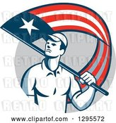 Vector Clip Art of Retro Male Handyman Walking with an American Themed Flag over His Shoulder, in a Gray Circle by Patrimonio