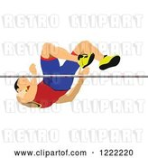 Vector Clip Art of Retro Male High Jumper by