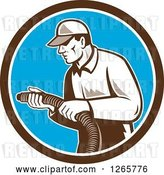 Vector Clip Art of Retro Male Home Insulation Worker Holding a Hose in a Brown White and Blue Circle by Patrimonio