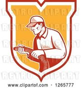 Vector Clip Art of Retro Male Home Insulation Worker Holding a Hose in a Shield by Patrimonio