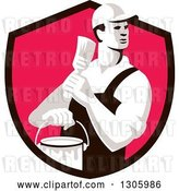 Vector Clip Art of Retro Male House Painter Holding a Brush and Bucket, Looking Back in a Black and Pink Shield by Patrimonio