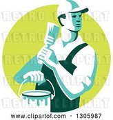 Vector Clip Art of Retro Male House Painter Holding a Brush and Bucket, Looking Back in a Green Circle by Patrimonio