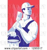 Vector Clip Art of Retro Male House Painter Holding a Brush and Bucket, Looking Back over Red by Patrimonio