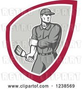 Vector Clip Art of Retro Male House Painter Holding a Brush in a Shield by Patrimonio