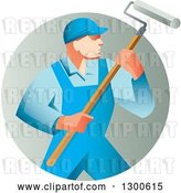 Vector Clip Art of Retro Male House Painter in Blue Overalls, Holding a Roller Brush in a Gradient Circle by Patrimonio
