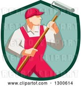Vector Clip Art of Retro Male House Painter in Red Overalls, Holding a Roller Brush in a Green Shield by Patrimonio