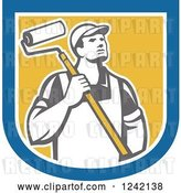Vector Clip Art of Retro Male House Painter with a Roller Brush in a Shield by Patrimonio