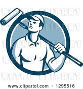Vector Clip Art of Retro Male House Painter with a Roller Brush over His Shoulder in a Blue and White Circle by Patrimonio