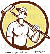 Vector Clip Art of Retro Male House Painter with a Roller Brush over His Shoulder in a Brown White and Yellow Circle by Patrimonio