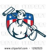 Vector Clip Art of Retro Male House Painter with a Roller Brush over His Shoulder in an American Flag Shield by Patrimonio