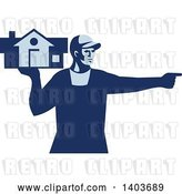 Vector Clip Art of Retro Male House Remover or Mover Holding a Home and Pointing, in Blue Tones by Patrimonio