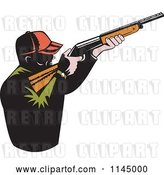 Vector Clip Art of Retro Male Hunter Aiming a Rifle by Patrimonio