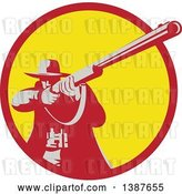Vector Clip Art of Retro Male Hunter Aiming a Shotgun in a Red and Yellow Circle by Patrimonio