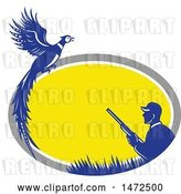 Vector Clip Art of Retro Male Hunter and Pheasant in a Gray White Yellow and Blue Oval Frame by Patrimonio