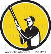 Vector Clip Art of Retro Male Hunter Holding a Shotgun in a Black White and Yellow Circle by Patrimonio