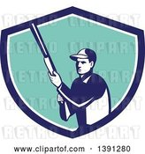 Vector Clip Art of Retro Male Hunter Holding a Shotgun in a Blue White and Turquoise Shield by Patrimonio