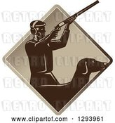 Vector Clip Art of Retro Male Hunter Shooting a Rifle and His Retriever Dog Emerging from a Brown Diamond by Patrimonio