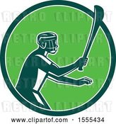 Vector Clip Art of Retro Male Hurling Player Holding a Wooden Hurley Stick in a Green Circle by Patrimonio