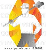 Vector Clip Art of Retro Male Janitor Holding a Broom over His Shoulder over Orange Rays by Patrimonio