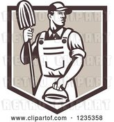 Vector Clip Art of Retro Male Janitor Holding a Mop and Bucket over a Brown Shield by Patrimonio