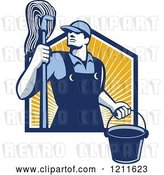Vector Clip Art of Retro Male Janitor Holding a Mop and Bucket over Sunshine by Patrimonio