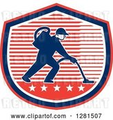 Vector Clip Art of Retro Male Janitor Operating a Carpet Cleaner over a Red White and Blue Stripes and Stars Shield by Patrimonio