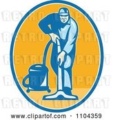 Vector Clip Art of Retro Male Janitor Using a Vacuum over an Orange Oval by Patrimonio
