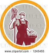 Vector Clip Art of Retro Male Janitor with a Mop and Bucket in a Circle by Patrimonio