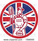 Vector Clip Art of Retro Male Janitor with a Mop and Bucket in a Union Jack Flag Circle by Patrimonio