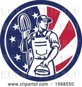 Vector Clip Art of Retro Male Janitor with a Mop and Bucket in an American Flag Circle by Patrimonio
